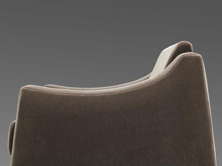 Mid-Century Modern Móveis Cimo Lounge Chair in Antracite Velvet For Sale