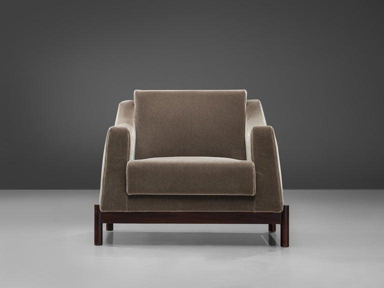 Brazilian Móveis Cimo Lounge Chair in Antracite Velvet For Sale