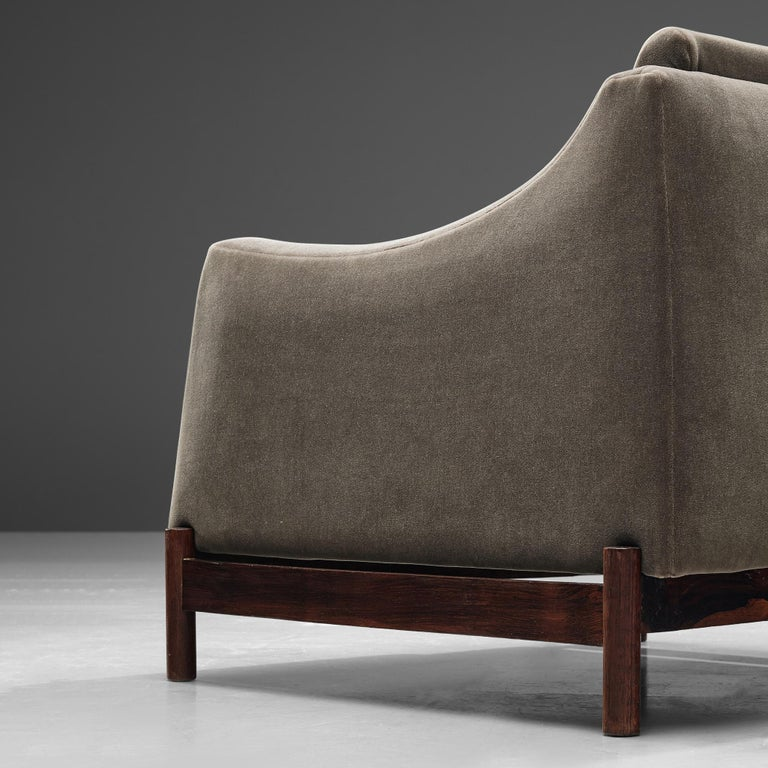 Fabric Móveis Cimo Lounge Chair in Antracite Velvet For Sale