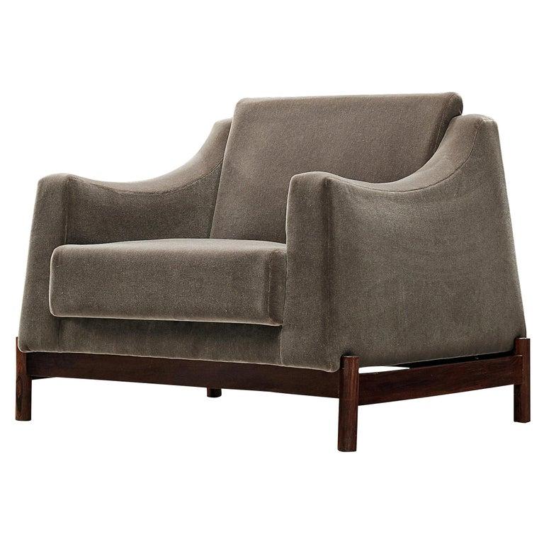 Móveis Cimo Lounge Chair in Antracite Velvet For Sale
