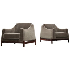 Móveis Cimo Pair of Lounge Chairs Reupholstered in Anthracite Velvet