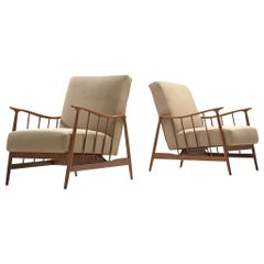 Móveis Cimo Pair of Lounge Chairs with Beige Upholstery