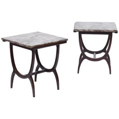 Móveis Teperman Midcentury Brazilian Side Table with Marble Top, 1960s