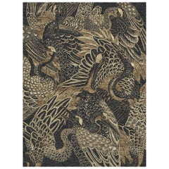 Movement - Animalistic Dark Hand Knotted Wool Bamboo Silk Rug
