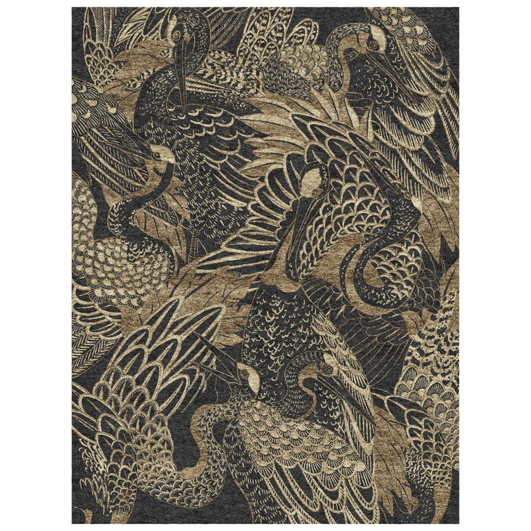 Movement - Animalistic Dark Hand Knotted Wool Bamboo Silk Rug For Sale