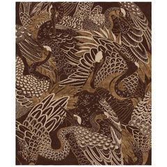 Movement - Animalistic Dark Hand Knotted Wool Bamboo Silk Rug