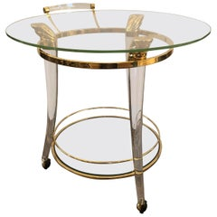 Moviestar Glamorous French Lucite and Gold-Plated Round Bar Cart