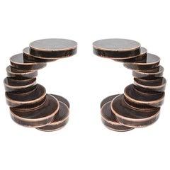 Movimento III Pedestal Table in Fondente Copper by Mauro Mori Studio