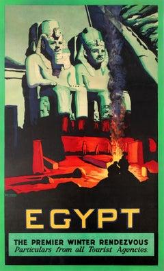 Original Vintage Winter Holiday Travel Poster For Egypt Ft. Pharaoh Statue Ruins