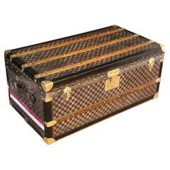Moynat Trunk with Checkers Pattern, Moynat Steamer Trunk, Moynat Trunk
