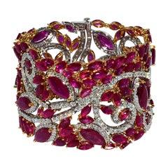 Mozambique Marquise Ruby and Round Diamond 18 Karat 2-Tone Bracelet