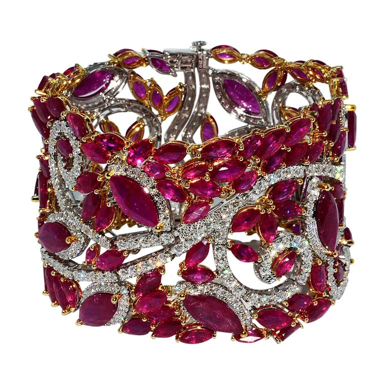 Mozambique Marquise Ruby and Round Diamond 18 Karat 2-Tone Bracelet For Sale