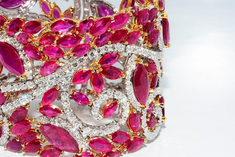 Retro Mozambique Marquise Ruby and Round Diamond 18 Karat 2-Tone Bracelet For Sale