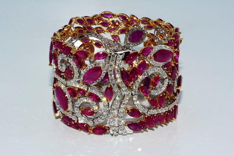 Marquise Cut Mozambique Marquise Ruby and Round Diamond 18 Karat 2-Tone Bracelet For Sale
