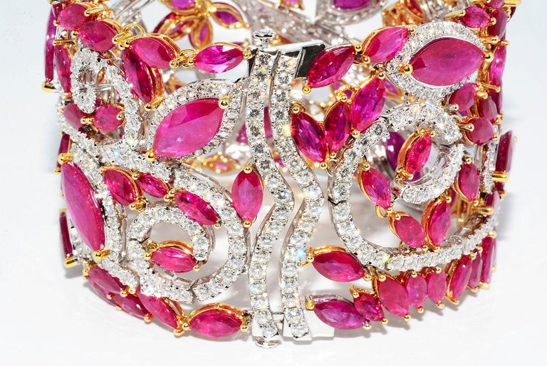Mozambique Marquise Ruby and Round Diamond 18 Karat 2-Tone Bracelet In New Condition For Sale In New York, NY