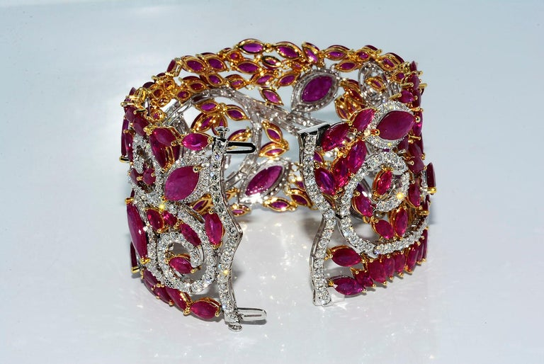 Women's Mozambique Marquise Ruby and Round Diamond 18 Karat 2-Tone Bracelet For Sale
