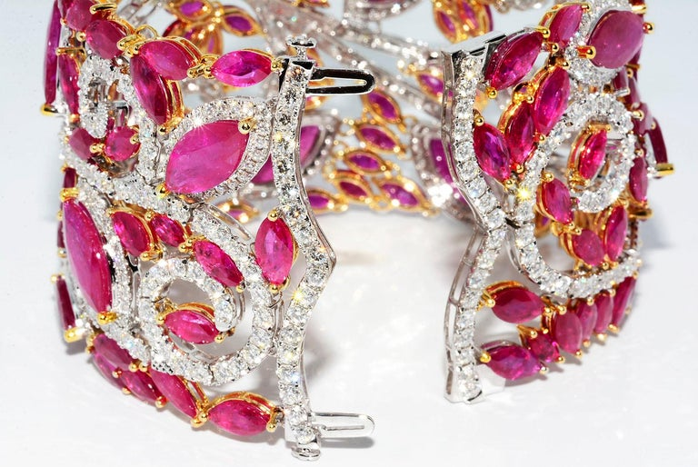 Mozambique Marquise Ruby and Round Diamond 18 Karat 2-Tone Bracelet For Sale 1