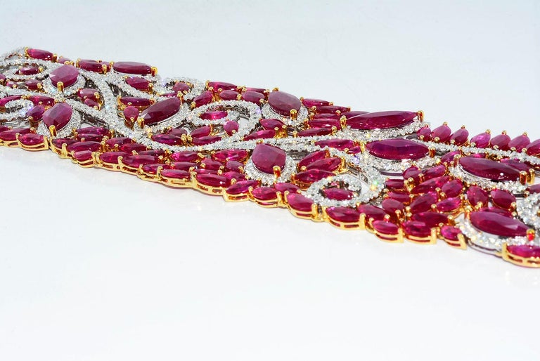 Mozambique Marquise Ruby and Round Diamond 18 Karat 2-Tone Bracelet For Sale 2