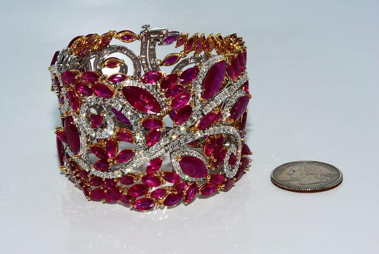 Mozambique Marquise Ruby and Round Diamond 18 Karat 2-Tone Bracelet For Sale 3