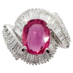 Mozambique Purplish Pink Sapphire Oval and White Diamond Cocktail Ring