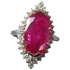 Mozambique Red Ruby Oval and Diamond Cocktail Ring