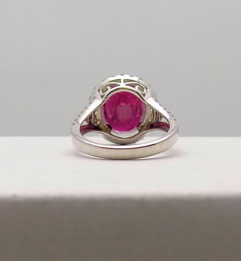 Oval Cut Mozambique Ruby and Diamond Cocktail Ring For Sale