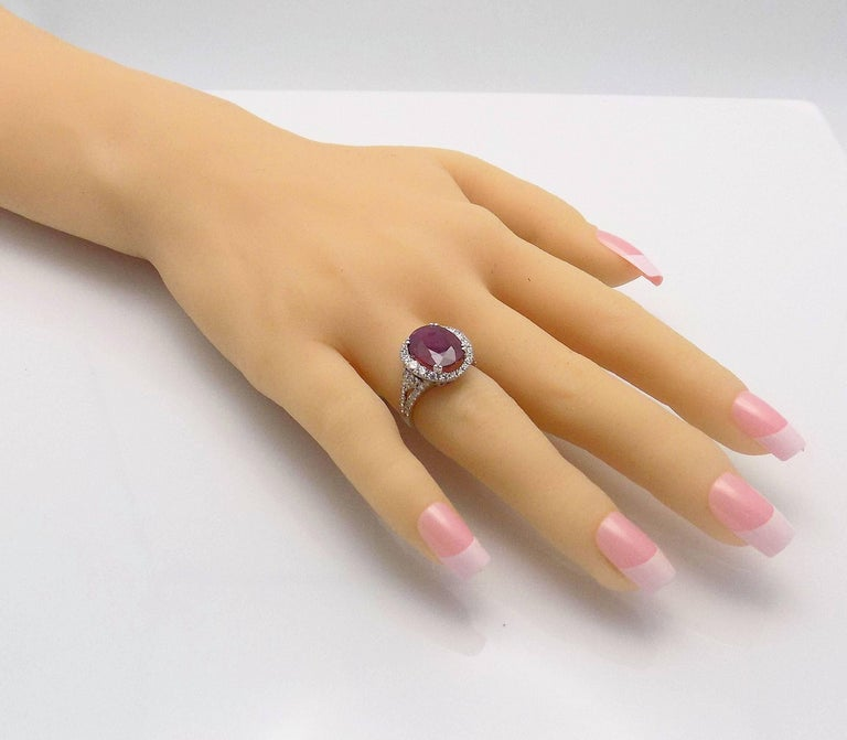 Mozambique Ruby and Diamond Cocktail Ring For Sale 1