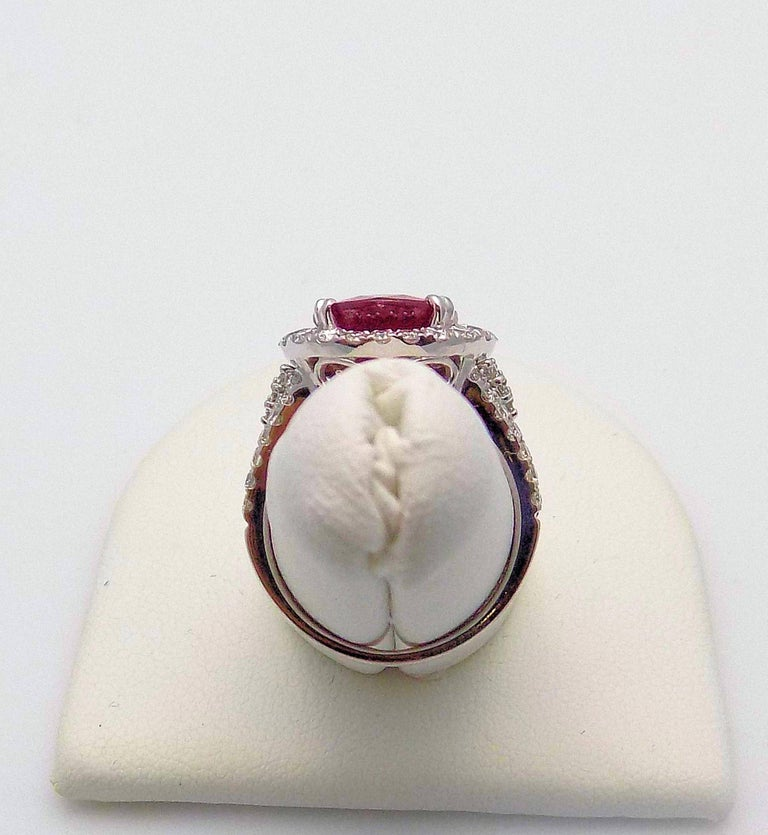 Mozambique Ruby and Diamond Cocktail Ring For Sale 4