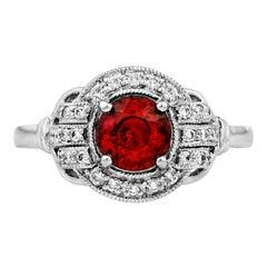 Mozambique Ruby Diamond Platinum Cocktail Engagement Ring
