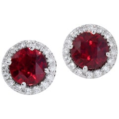 Mozambique Ruby with Diamond Halos Stud Earrings