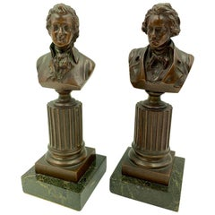 Mozart and Beethoven, Pair of Antique Bronze Grand Tour Busts, 19th Century