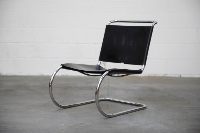 A rare no longer produced design, this incredible pair of early production double-signed cantilevered MR 30/5 lounge chairs by Ludwig Mies van der Rohe for Knoll International, both chairs possess their original Knoll International labels to the