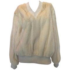 Mr Blackwell 1960's White Mink V Neck Sweater