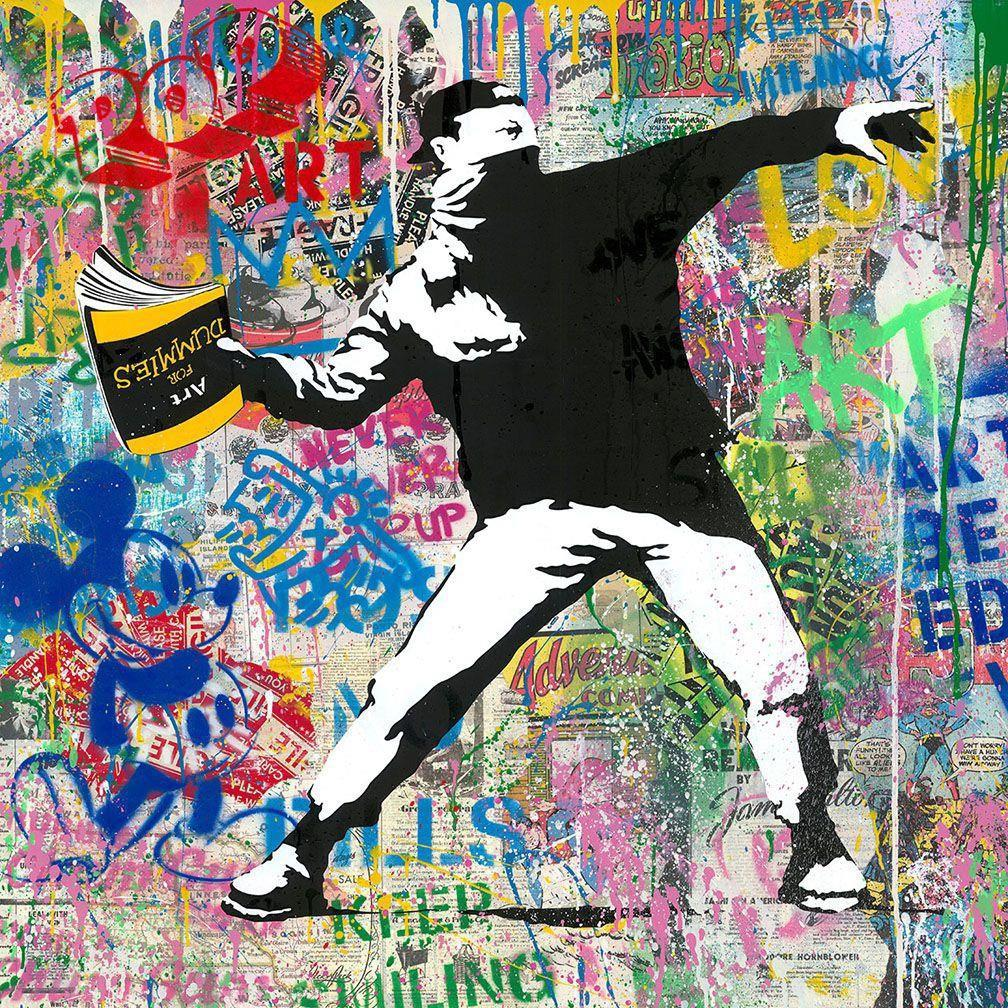 Banksy Thrower - Mr.Brainwash, Silkscreen and Mixed Media, Street Art