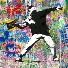 Banksy Thrower - Mr.Brainwash, Silkscreen and Mixed Media, Street Art