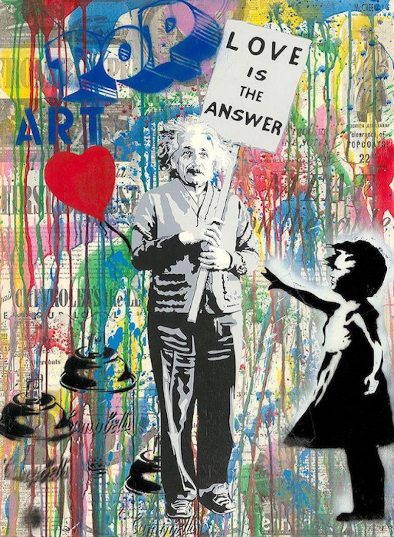 Einstein - Mr.Brainwash, Silkscreen and Mixed Media on Paper, Street Art