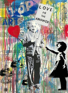 Einstein - Mr.Brainwash, Silkscreen and Mixed Media on Paper, Street Art