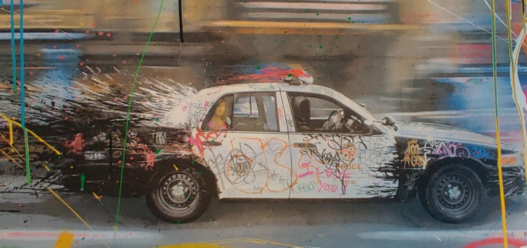 2015 rare Mr. Brainwash hand finished Metro Polisa. Unique work and hard to come by. Dimensions of 24 x 46 inches.  Print has been stored flat with acid free tissue paper, and and our gallery only offers the highest quality works.