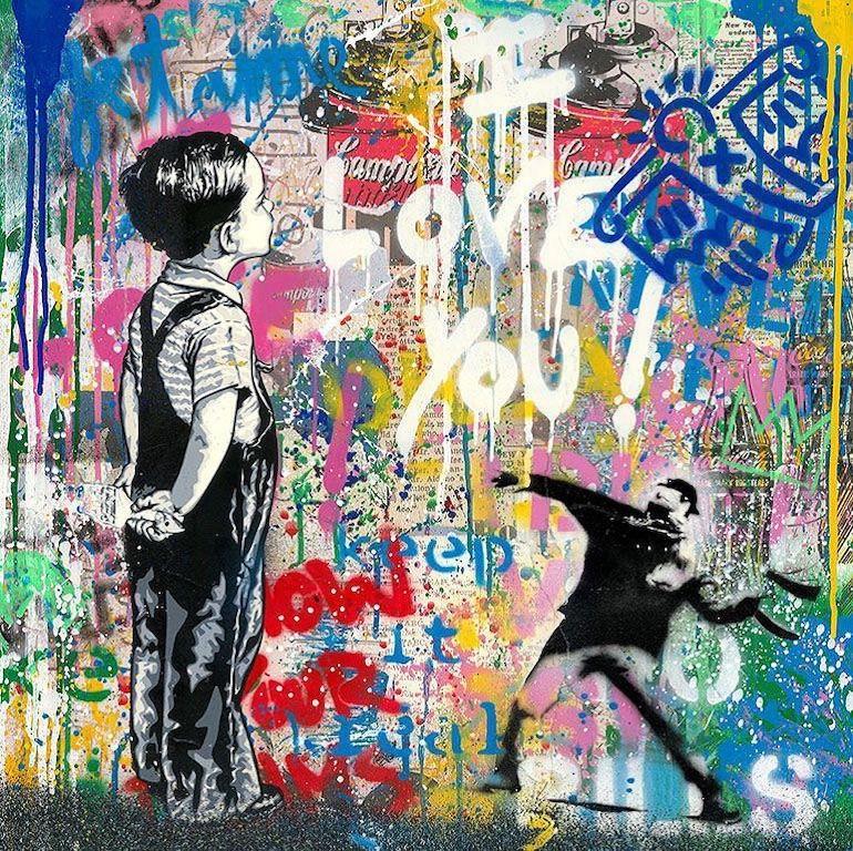 With All My Love - Mr.Brainwash, Silkscreen and Mixed Media, Street Art