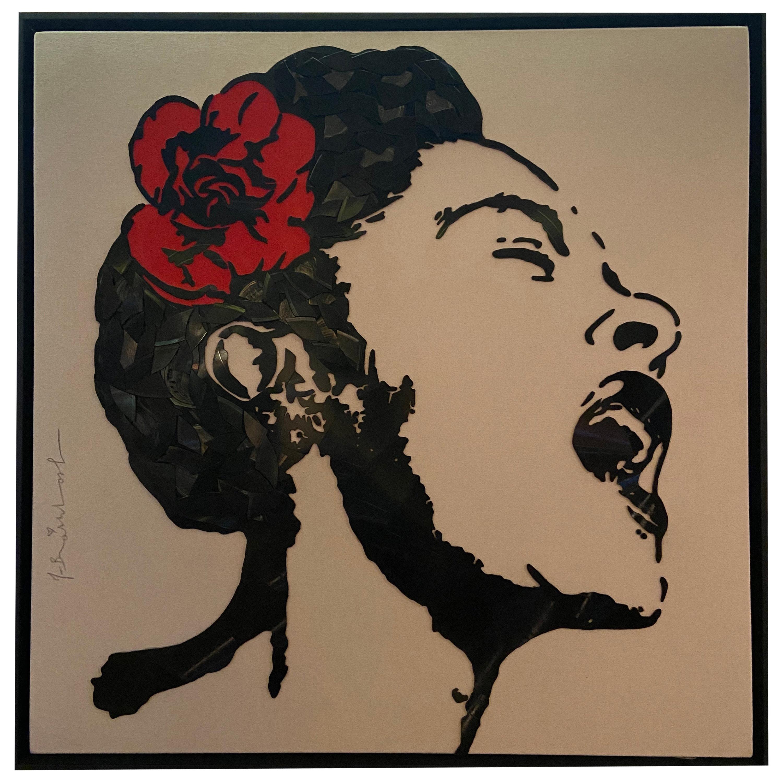Mr. Brainwash 'Billie Holiday' Broken Vinyl Records on Canvas, 2018