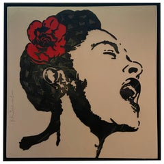 Mr. Brainwash 'Billie Holiday' Broken Vinyl Records on Canvas, 2018