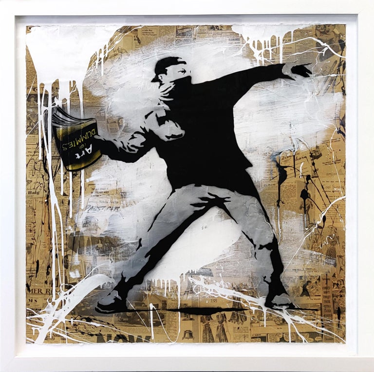 BANKSY THROWER - Street Art Mixed Media Art by Mr. Brainwash