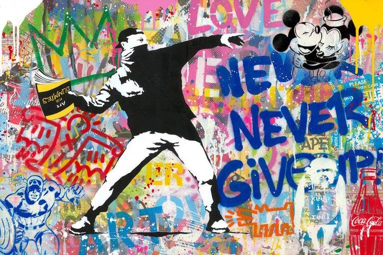 Banksy Thrower - Mixed Media Art by Mr. Brainwash