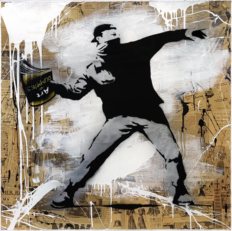 BANKSY THROWER - Mixed Media Art by Mr. Brainwash