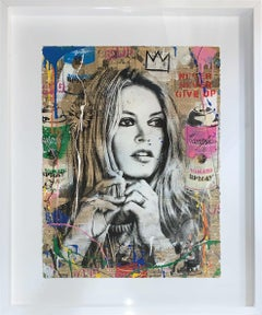 "Mr. Brainwash ""Brigitte Bardot"" Original Mixed media on paper comes Framed"