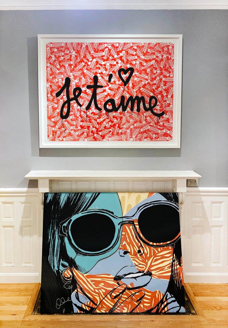 Artist:  Brainwash, Mr. Title:  Je T'aime Date:  2021 Medium:  Spray Paint, Stickers and on paper Unframed Dimensions:  40