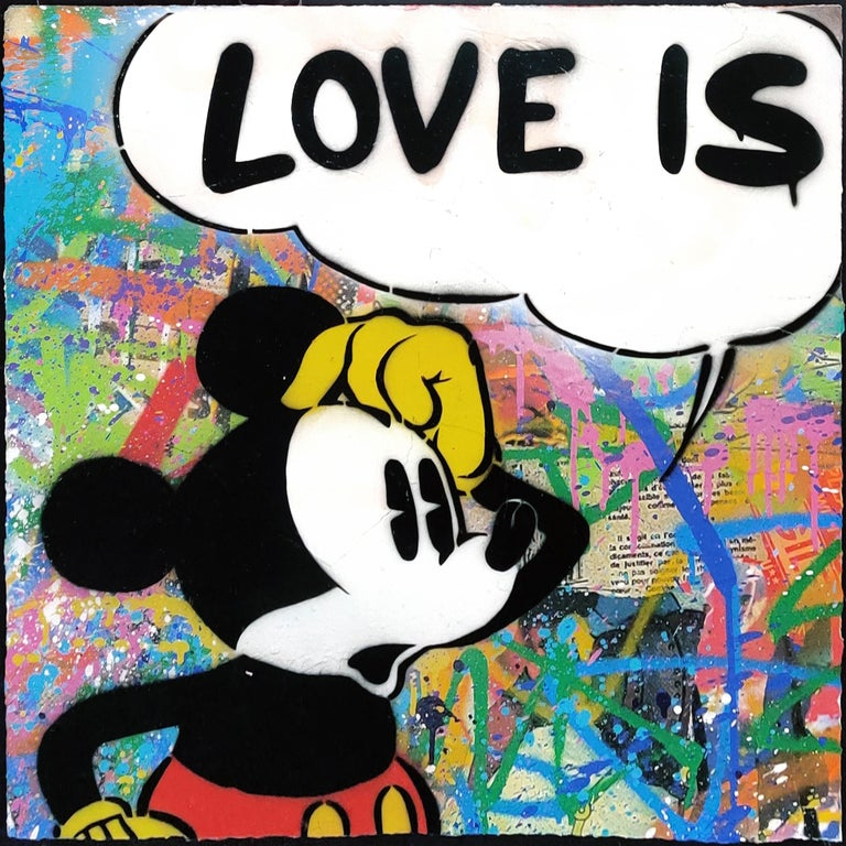 LOVE IS THE ANSWER DIPTYCH (MICKEY & MINNIE MOUSE) - Street Art Mixed Media Art by Mr. Brainwash