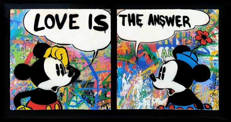 LOVE IS THE ANSWER DIPTYCH (MICKEY & MINNIE MOUSE) - Mixed Media Art by Mr. Brainwash