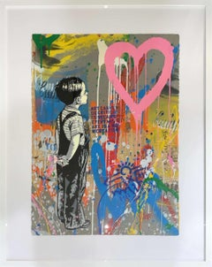 """Mr. Brainwash """"With All My Love"""" Original Mixed media on paper comes Framed"""