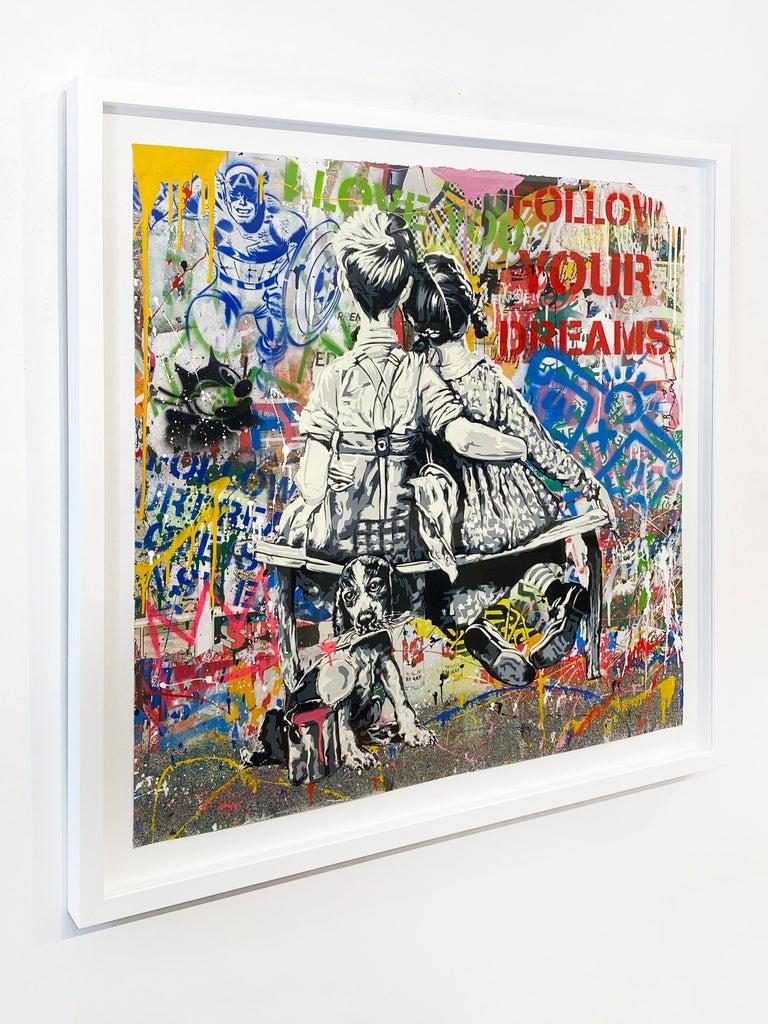 Artist:  Brainwash, Mr. Title:  Work Well Together Date:  2020 Medium:  Silkscreen and mixed media on paper Unframed Dimensions:  36